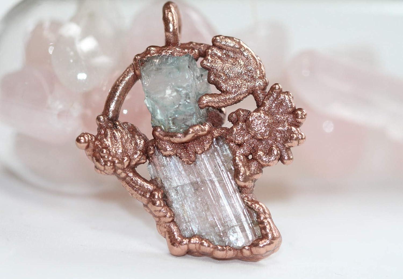 Electroformed Jewelry Crystal Necklace Labradorite and Black Tourmaline Crystal Electroformed Necklace