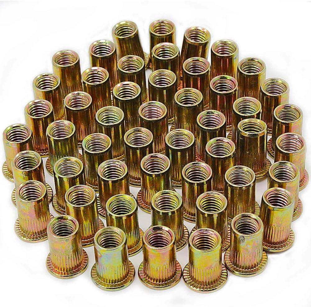 M6 Tuercas de Remache Tuercas de Acero al Carbono Tuercas de M/étrica Roscada Tuercas de Cabeza Plana M6 100pcs