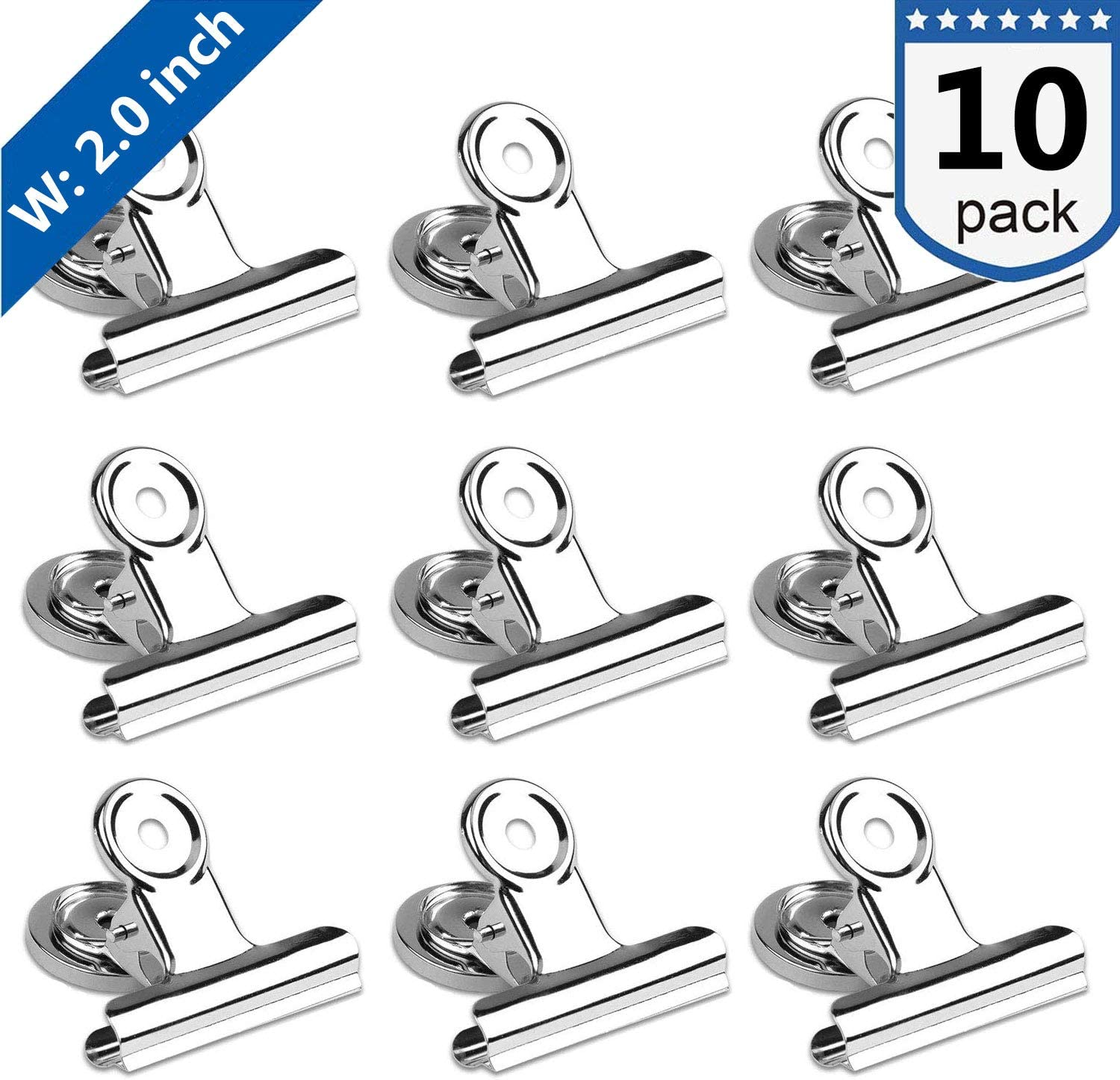 Magnetic Clips 2 inch, Heavy Duty Magnet Metal Clips for Refrigerator, 10 Pack Strong Magnet Clips for Cruise Cabins, Whiteboard, Fridge, Classroom
