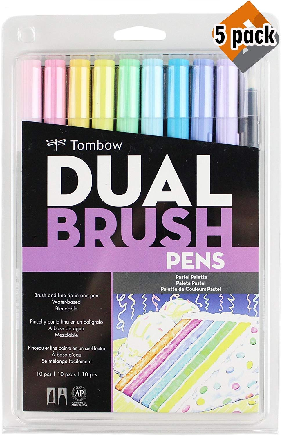 Tombow 56187 Dual Brush Pen Art Markers, Pastel, 10-Pack. Blendable, Brush and Fine Tip Markers - 5 Pack by Tombow