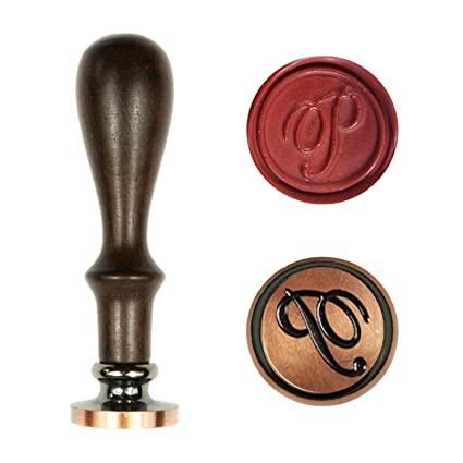 Uniqooo Arts Crafts Vintage Initial Letter P Wax Seal Stamp Copper Stamp Padauk Wood Handle Exceptional Gift Idea For Artistic Types Earthy
