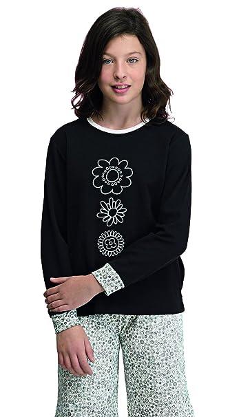 Pijama niña invierno color negro y blanco (7931) fabricado en España Talla 16A