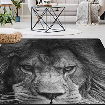 Amazon Com Naanle Animal Lion Area Rug 5 X7 Black And White Lion Polyester Area Rug Mat For Living Dining Dorm Room Bedroom Home Decorative Furniture Decor