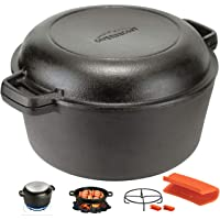 Overmont Dutch Oven 5 QT Cast Iron Casserole Pot + 1.6 QT Skillet Lid Pre Seasoned with Handle Covers & Stand for…