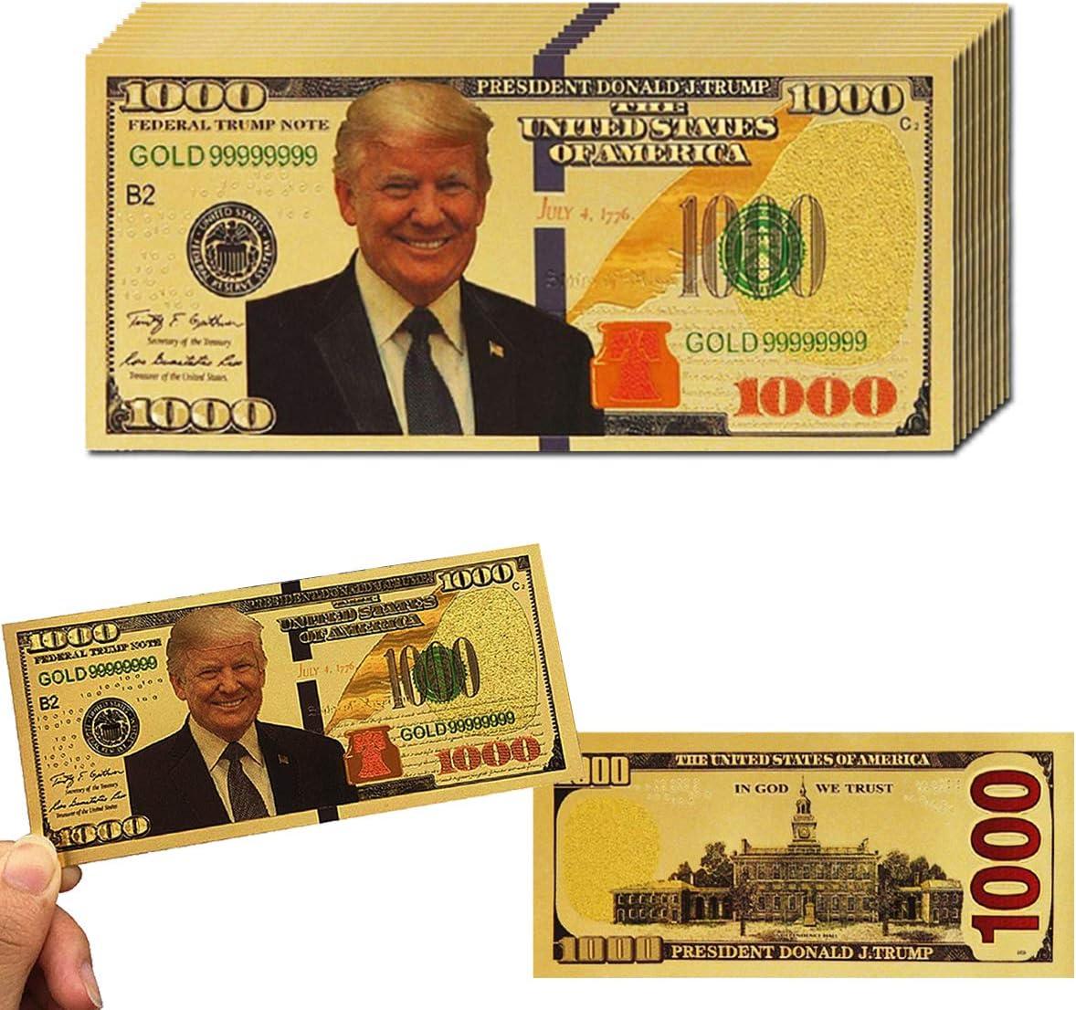 10 US President Donald Trump 24K Gold Plated Novelty Dollars Bill Banknote Gift