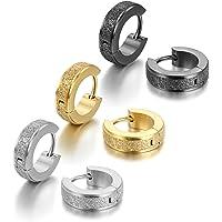 Cupimatch Stainless Steel Womens Small Huggie Hoop Earrings Men Ear Studs Gift Set (3 Pairs)