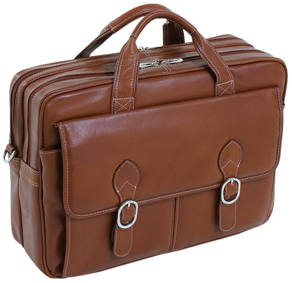 McKleinUSA Kenwood 15564 Brown Leather Double Compartment Laptop Case
