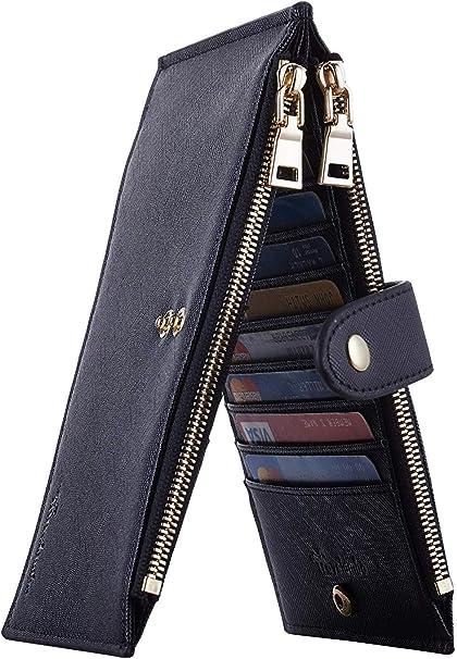 Travelambo Womens Walllet RFID Blocking Bifold Multi Card Case Wallet with Zipper Pocket Crosshatch