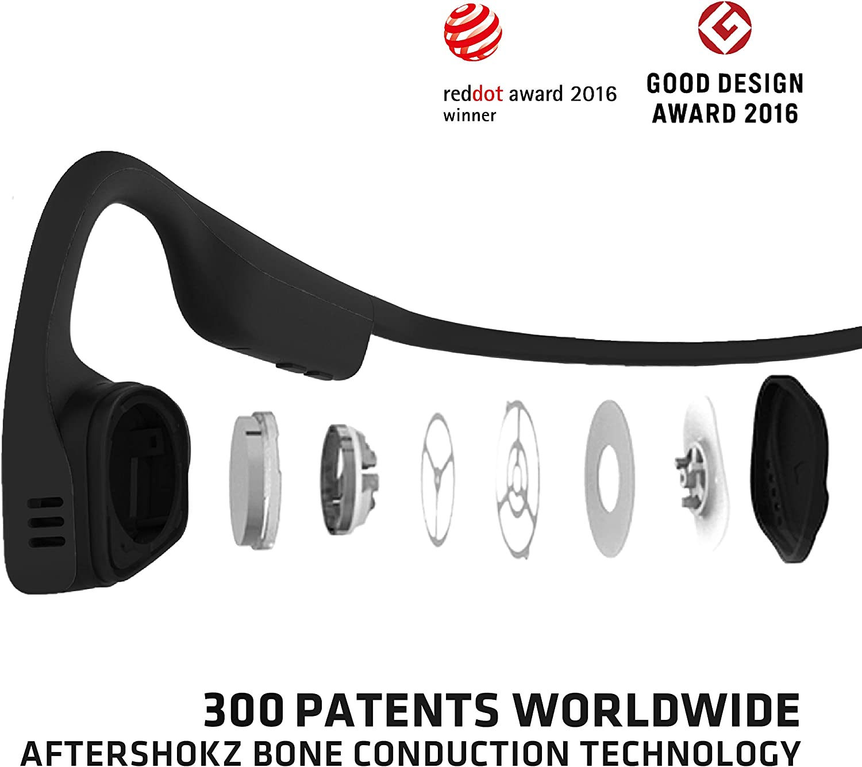 AfterShokz Titanium オープンイヤーワイヤレス骨伝導ヘッドフォン、ポータブル収納ケース付き
