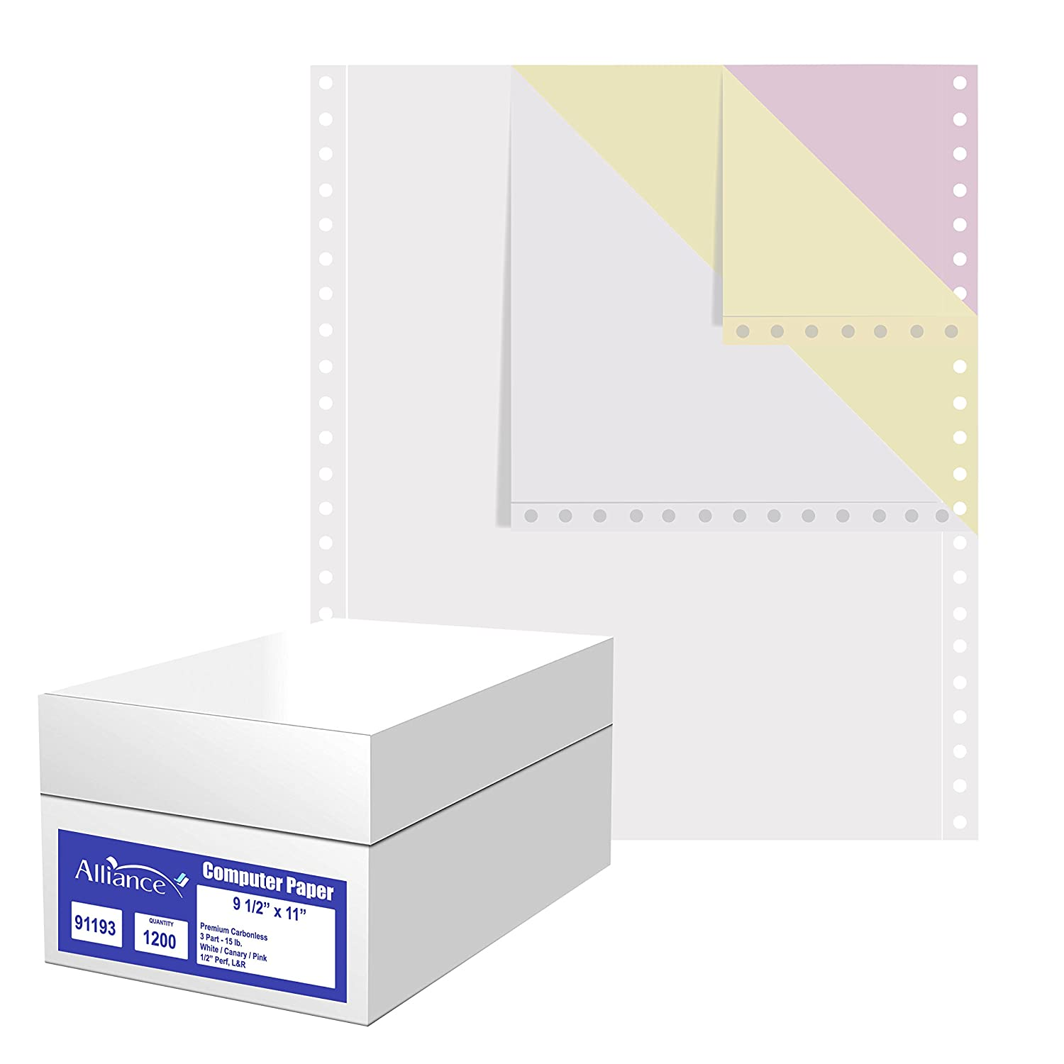 Alliance Premium Carbonless Computer Paper, 9.5 x 11, Blank Left and Right Perforated, 15 lb, 3-Part White/Canary/Pink (1,200 Sheets) - Made in The USA Impreso