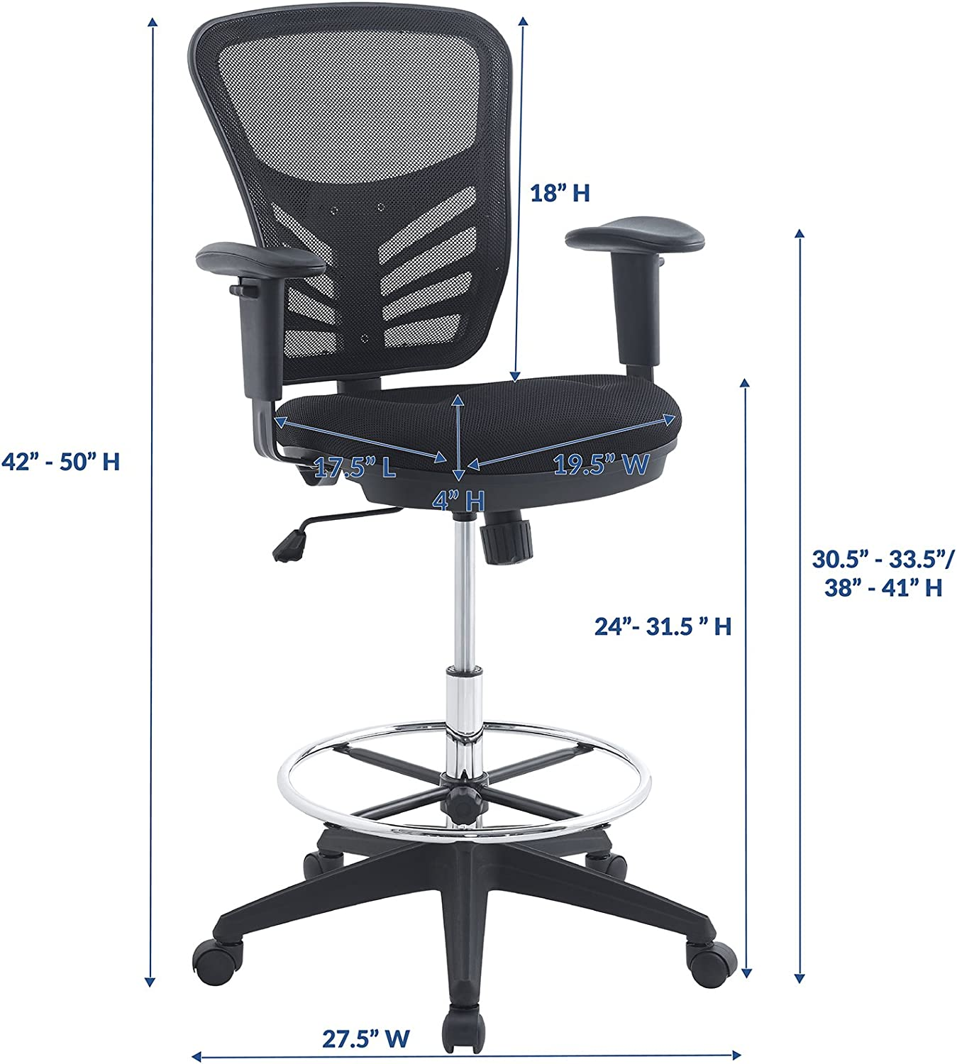 Modway Articulate Drafting Chair - Reception Desk Chair - Drafting Table  Chair in Black