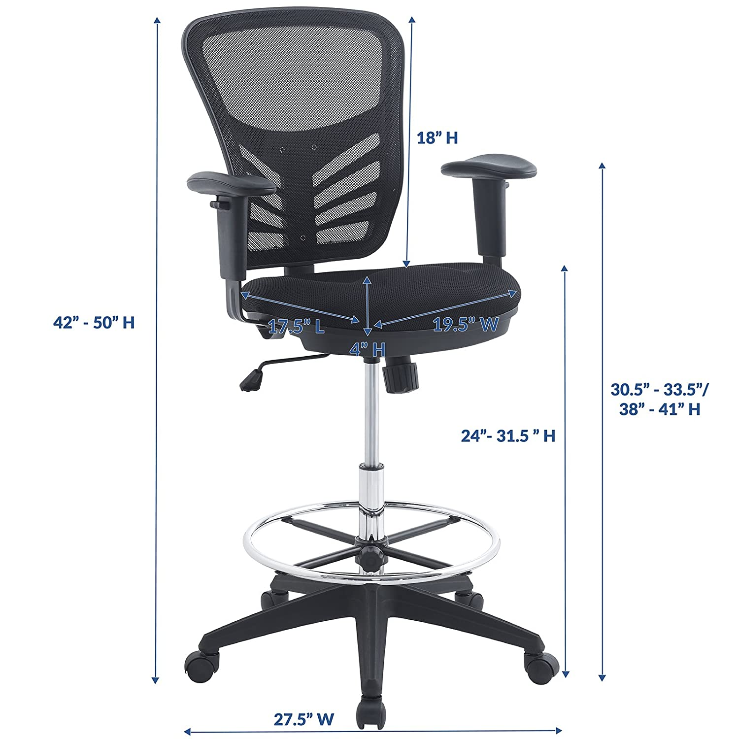 Exceptionnel Amazon.com: Modway Articulate Drafting Chair In Black   Reception Desk Chair    Tall Office Chair For Adjustable Standing Desks   Drafting Table Chair:  ...