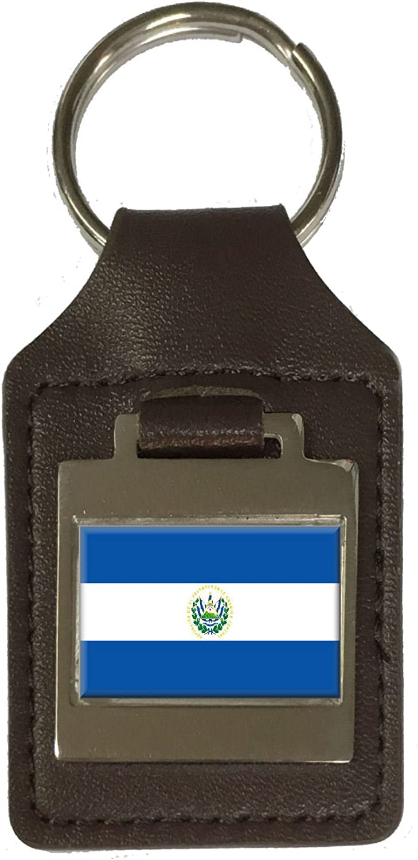 Leather Keyring Engraved El Salvador Flag