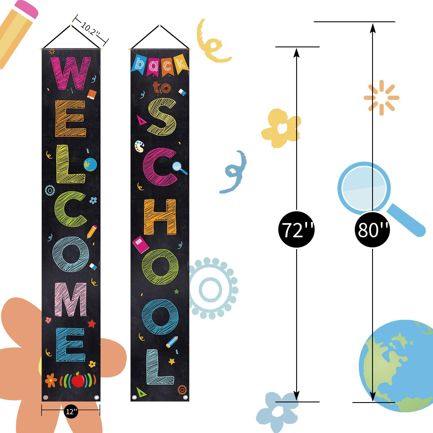 interni ed esterni nero Whaline Welcome Door Banner Back To School Door Sign Sign First Day of School Portico Sign Banner Banner Banner Banner da appendere per decorare aule