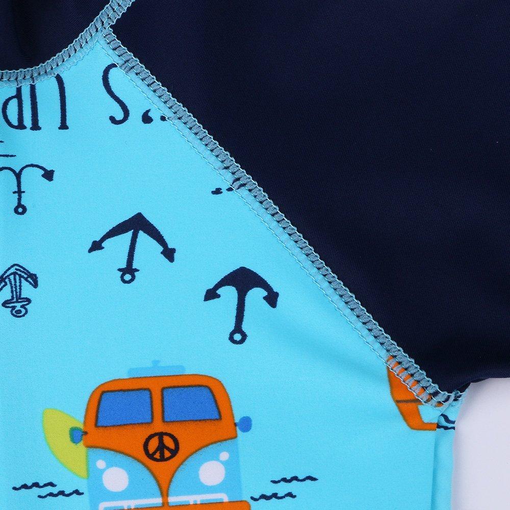 HUAANIUE Bambina Ragazzi Costumi da Bagno Manica Corta Un Pezzo Costume da Bagno Cerniera Lampo Protezione Solare Muta da Sub UPF 50 Nuoto bagnarsi Blu 6M-4Anni