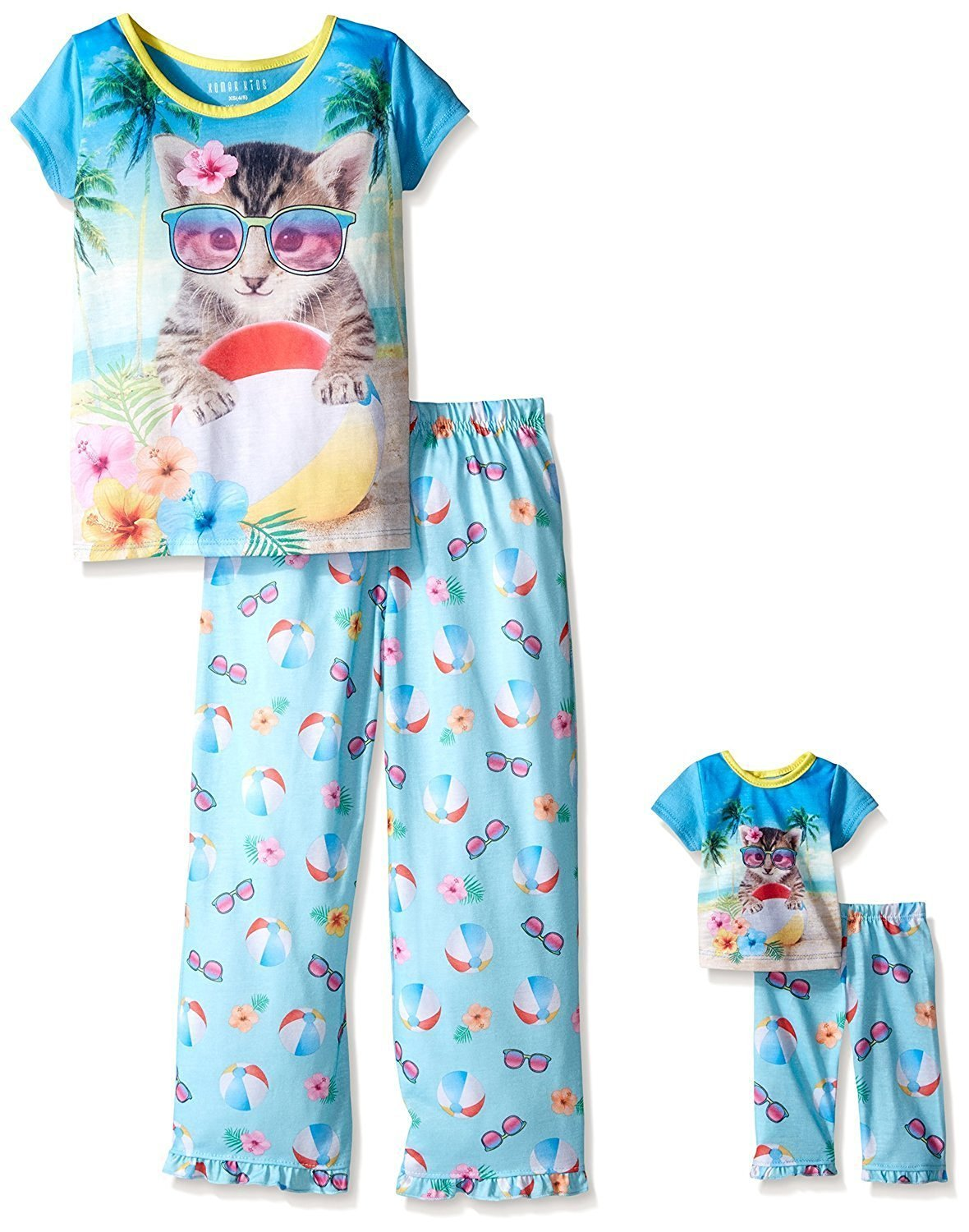 Komar Kids Girls' Pajamas Nightgowns Matching 18 inch Doll Sleepwear, Sizes 4-16 Blue X-Small