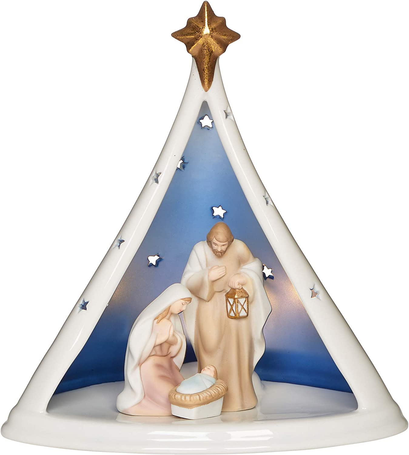 "Roman - Lighted Holy Family in Tent Creche, 8.75"" H, Porcelain, Battery Operated, Christmas Collection, Home Decor, Religious Gift, Adorable, Beautifully Detailed, Long Lasting"