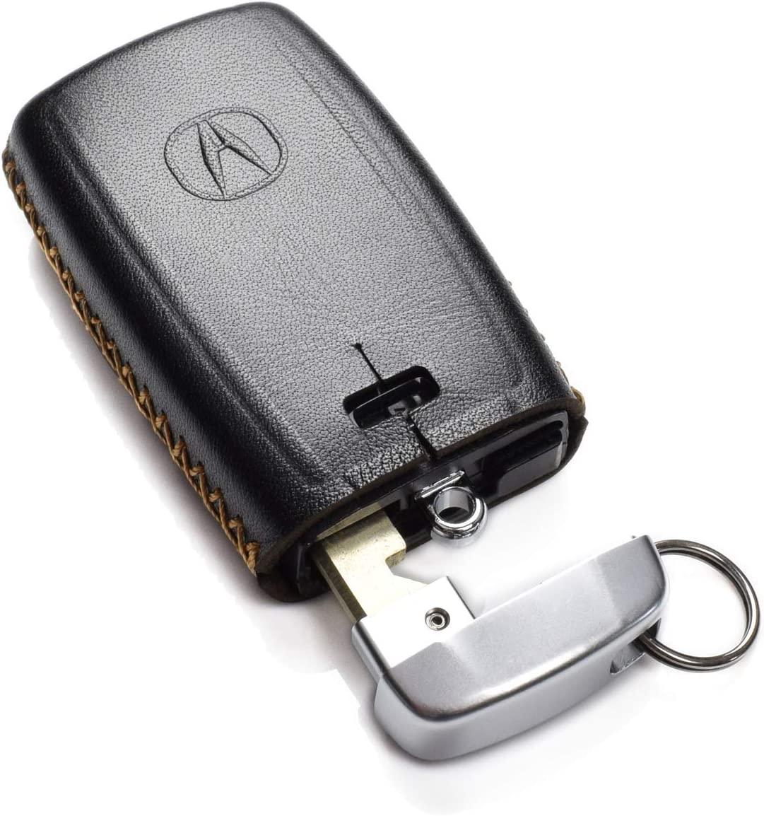 5-Button, Black Acura TLX Vitodeco Genuine Leather Smart Key Fob Case Cover Protector with Leather Key Chain for 2017-2020 Acura RDX Acura ILX Acura MDX Acura TSX
