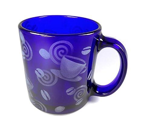 8b29b9cd7e0 IncisoArt Hand Etched Coffee Mug Sandblasted (Sand Carved) Glass Handmade  Engraved (Coffee Bean Mug Swirl, 13 Ounce Cobalt Blue)