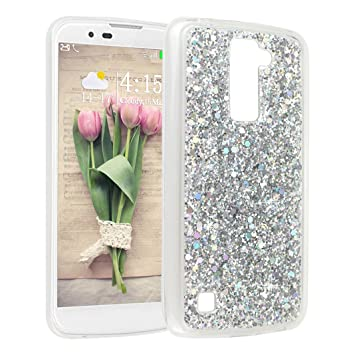 ac9aeb79f71 Funda para LG K10 2016, Asnlove Bling Glitter Carcasa Silicona Gel Suave  TPU Flexible Cover Clear Case Protectora Blanda Caso Caja Cubierta, ...