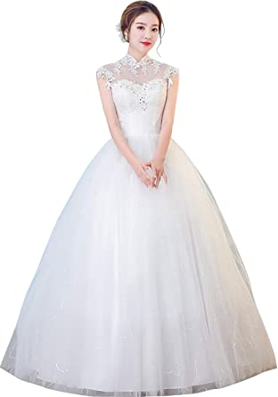 cd59a5babae Clover Bridal 2018 Vintage High Collar Appliqued Lace Beading Ball Gown  Wedding Dress Ivory