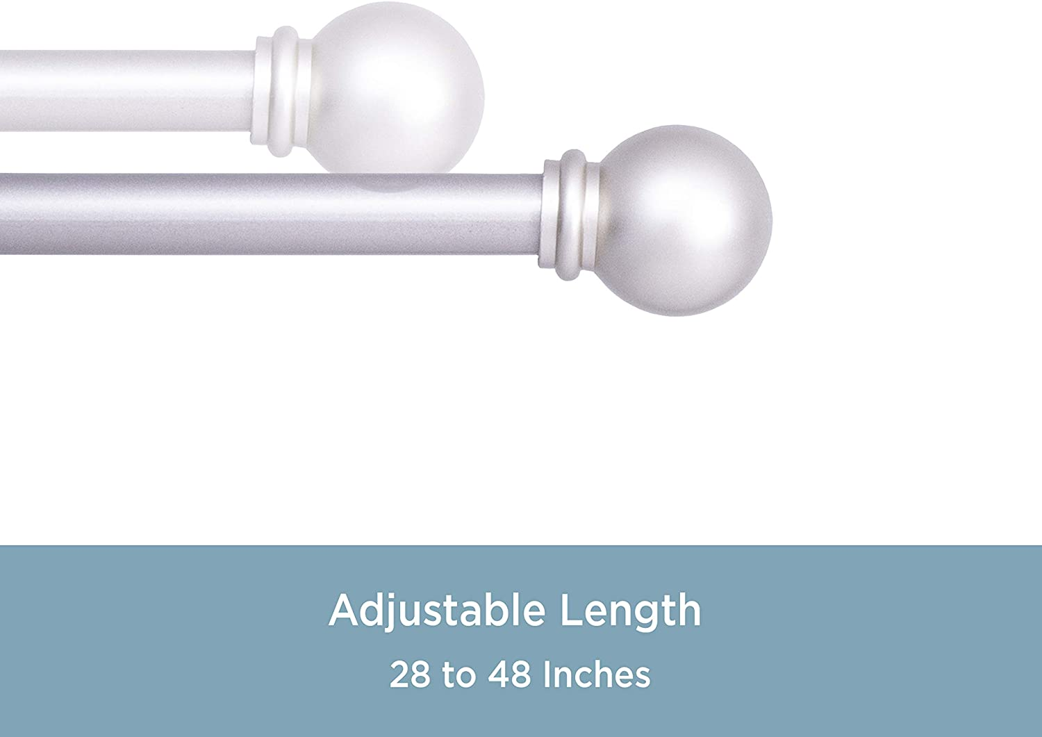 """NEW Telescoping 5//8/"""" Cage Finial Single Curtain Rod Kit 28/"""" Champagne 48/"""""""