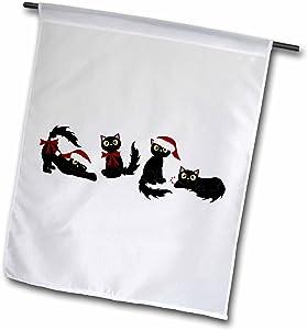 3dRose Janna Salak Designs Cats - Cute Christmas Cats Black - 18 x 27 inch Garden Flag (fl_172138_2)