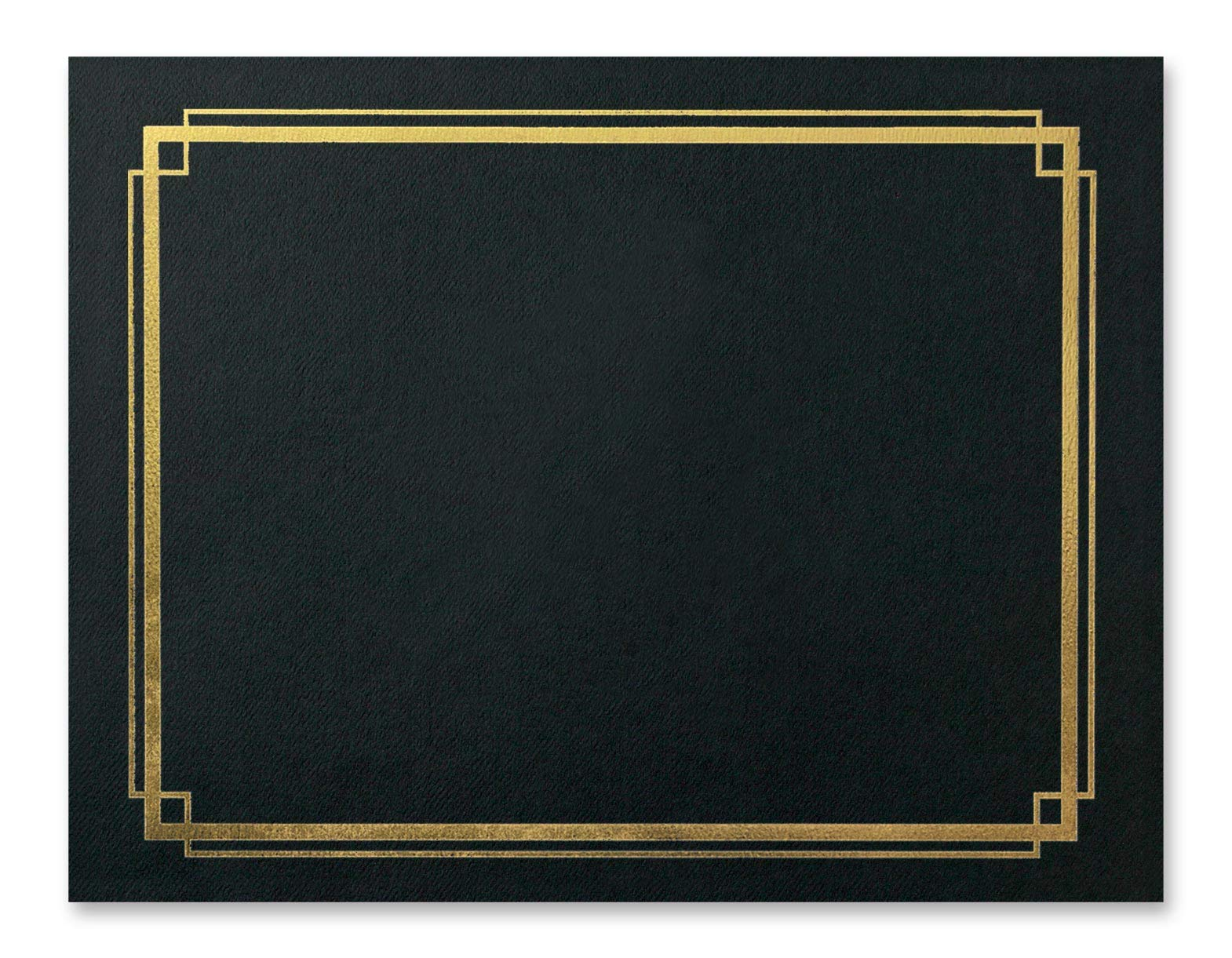 Black Certificate Jackets with Gold Foil Border, Heavy Linen, 10 Count by PaperDirect