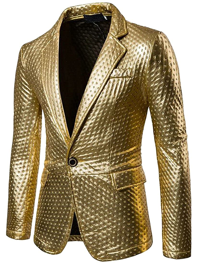 - Generic Men's Casual Slim Fit Metallic color Performance One Button Suit Jackets