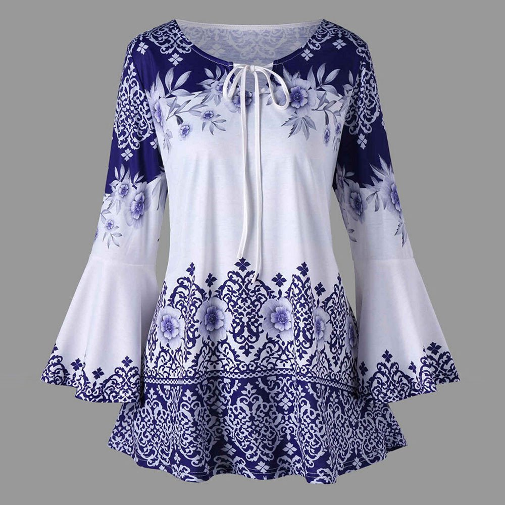 Vinjeely Fashion Womens Printed Flare Long Sleeve Tops Plus Size Blouses Keyhole T-Shirts