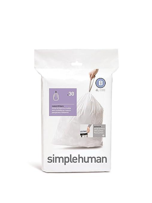 simplehuman CW0161 Bolsa para Basura 6 L Blanco 30 Pieza(s) - Bolsa de Basura (6 L, Blanco, 30 Pieza(s))