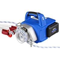 Landworks Electric Portable Winch Capstan Hoist Brushless Motor Li-Ion Battery Powered 1000-2000 Max Pulling Force for Forestry Hunting Garden Off-Road (Low Stretch Rope Included)