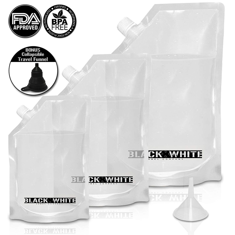 (3) Black & White Label Premium Plastic Flasks - Liquor Rum Runner Flask Cruise Kit Sneak Alcohol Drink Wine Pouch Set Reusable Concealable Flasks for Booze & Cocktails 1x32oz+1x16oz+1x8oz + Funnel PFK-321684PCS15