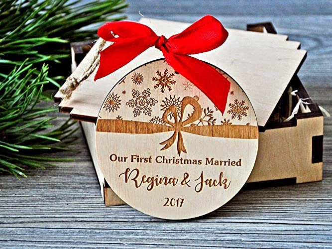 Personalized Christmas Gifts.Amazon Com Custom Ornaments Our First Christmas Married