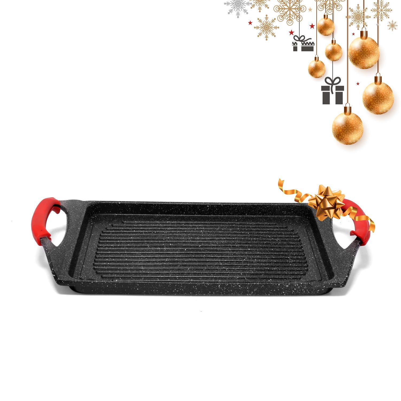 Jonas Plancha Grill Cocina con Revestimiento Piedra sin PFOA Antiadherente - Dimensiones: 34 x 26 x 2,2 cm – Grill Inducción, Gas, Eléctrica, ...