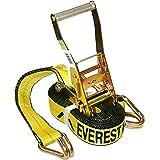 Everest Premium Ratchet Tie Down – 1 PK – 2 IN – 27 FT – 3333 LBS Working Load – 10000 LBS Break Strength – Double J Hook – C