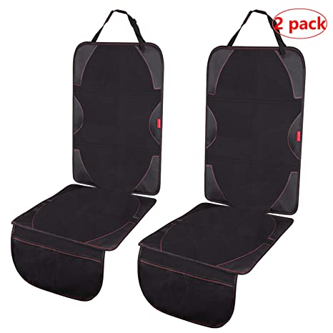 Acomon Car Seat Protector 2 Pack Dog Mats Under Car Seat with Padded Cover to Protect Automotive Vehicle Fabric and Leather Seats Non-Slip Dirt Resistant Auto Seat Cover for Baby Child Car Seats