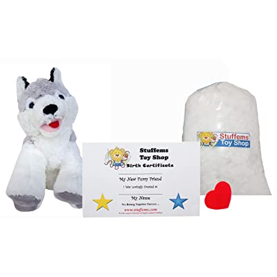Make Your Own Stuffed Animal Mini 8 Inch Loveable Husky Dog Kit - No Sewing Required!: Toys & Games
