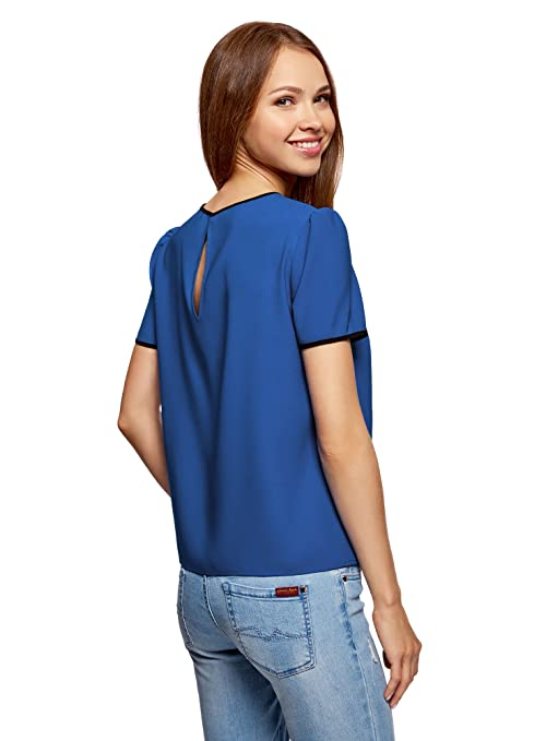oodji Ultra Women's Drawstring Top with Contrast Details: Amazon.co.uk:  Clothing