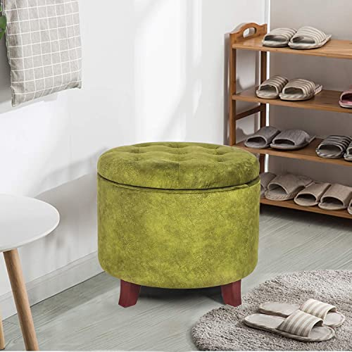 Adeco Round Cushion Button Tufted Lift Top Storage Ottoman Footstool