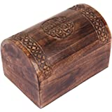 Rustic Wooden Keepsake Box with Celtic Carvings, 9 x 6 x 4 Inches