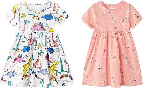 Abogel Vestidos de Niña Verano Vestido de Algodón De Manga Corta Falda para Niña 3-7 Años: Amazon.es: Ropa y accesorios