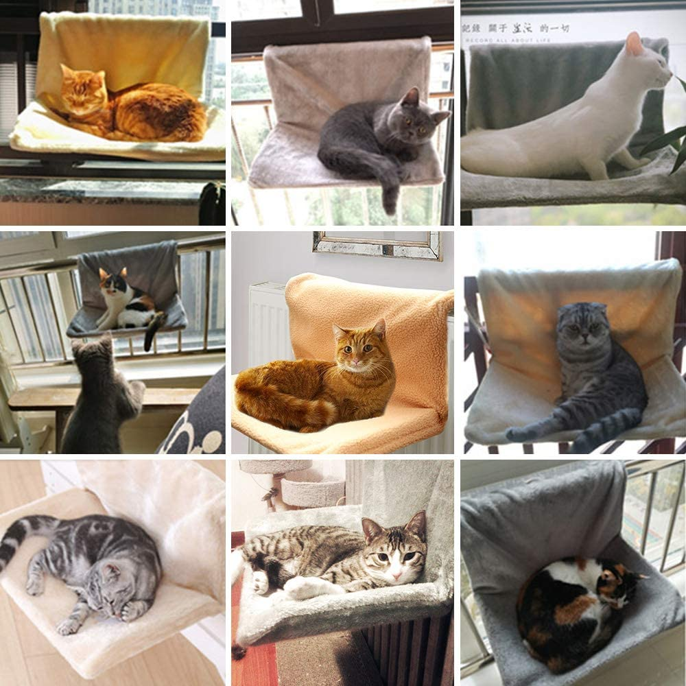 Strong and Durable Metal Frame Shelf Folds Easily for Pet Kitten Puppy Small Dogs White Pet Radiator Bed Strong Hanging Cat Hammock Plush Holds Up 5KG Calitch Cat Hammock Bed