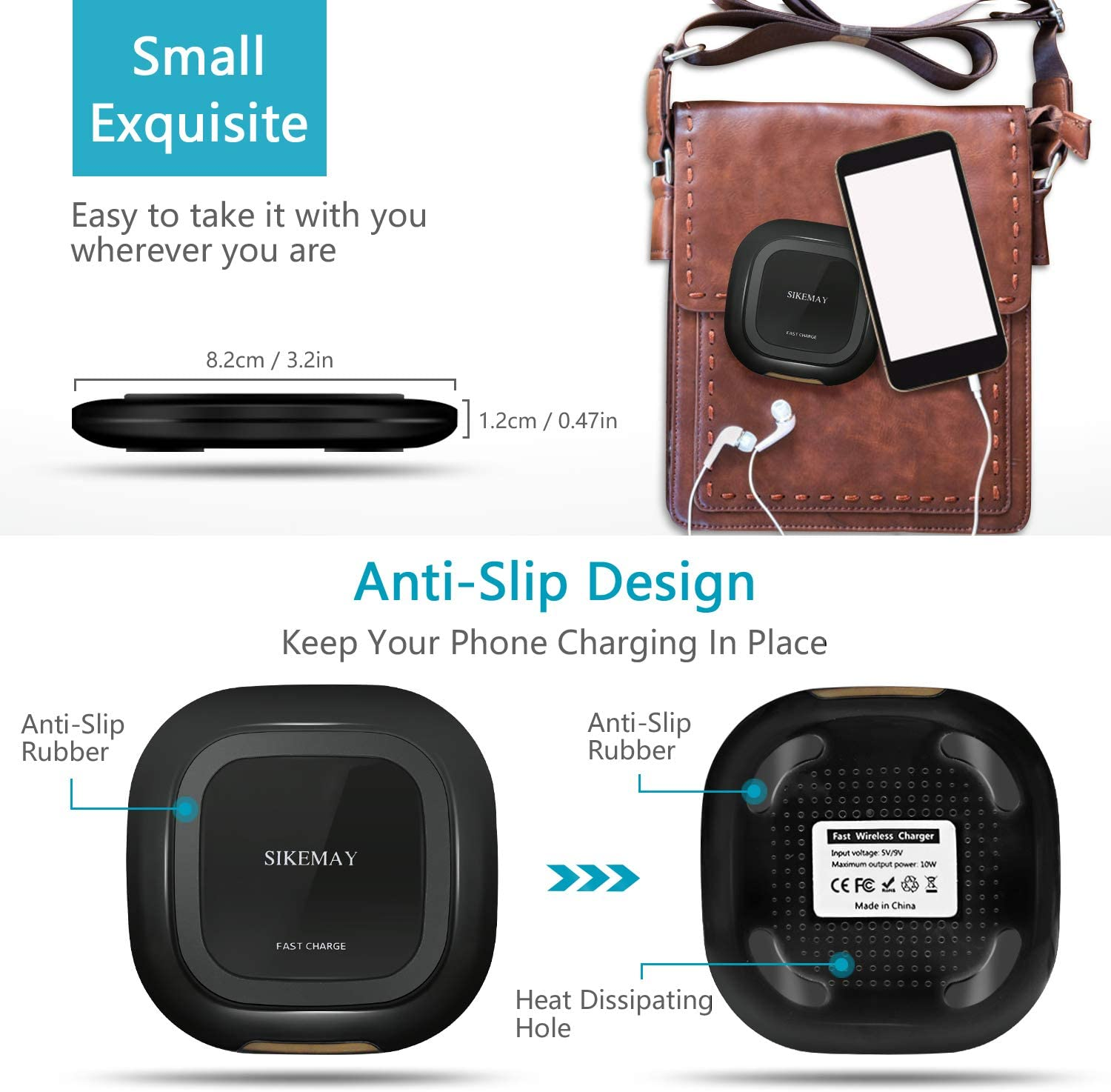 Wireless Charger Qi Fast Wireless Charging Pad 7.5W Wireless Charging Compatible iPhone Xs MAX//XR//XS//X//8//8 Plus,10W Compatible Samsung Galaxy S10//S10 Plus//S10E//S9//S9+//S8//S8+//Note 9//Note 8 and More