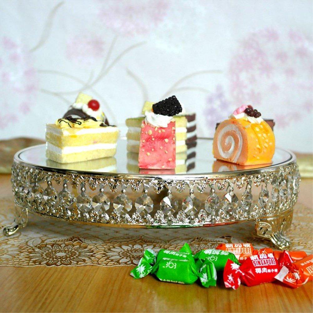 JUKUB 12 Pulgadas De Pie De La Torta De La Boda Pedestal Redondo Acabado De Plata con Cuentas De Cristal, Astilla Antigua Y Espejo De Cristal Top Round Cake ...