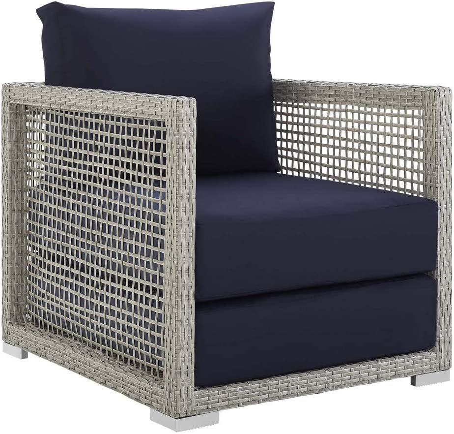 Modway Aura Wicker Rattan Outdoor Patio Arm Chair with Cushions in Gray Navy