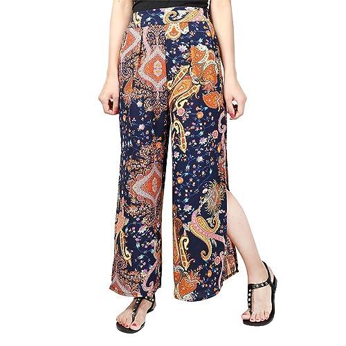 YuanDian Mujer Ocio Gasa Estampado Floral Palazzo Pantalon Talle Alto Ancho Grande Tamaño Fino Largo...