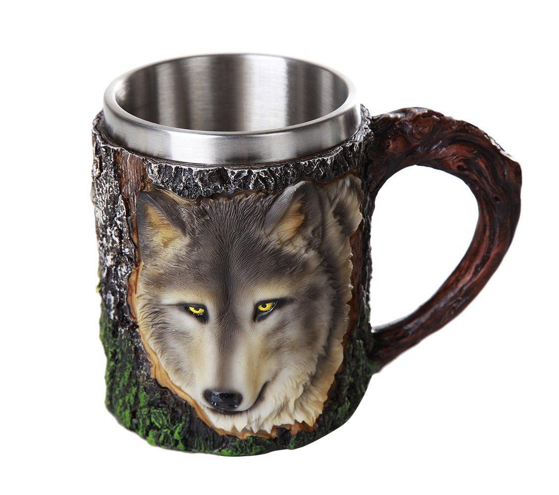 Alpha Grey Wild Wolf Coffee Mug Tree Bark Stainless Steel Tea Wolves 3D Head Gray