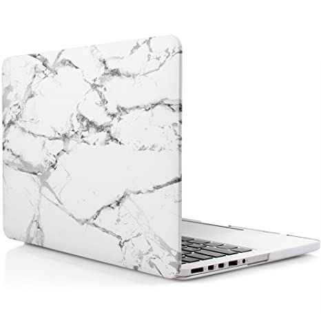 sneakers for cheap 4948a bce58 iDOO Soft Touch Plastic Hard Matte Case ONLY for MacBook Pro 13 inch with  Retina Display NO CD Drive (A1425 / A1502) - White Marble Elegance