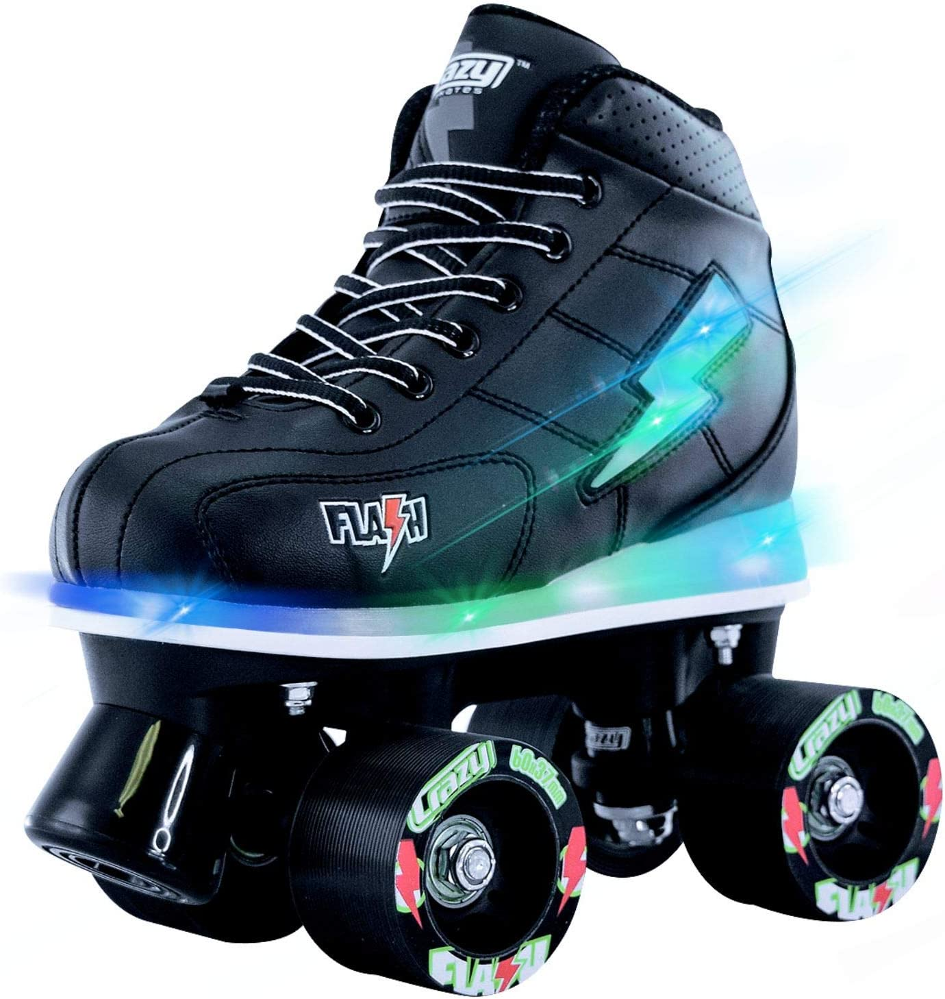 Crazy Skates Flash Roller Skates for Boys Light Up Skates with Ultra Bright Lights and Flashing Lightning Bolt Black Patines